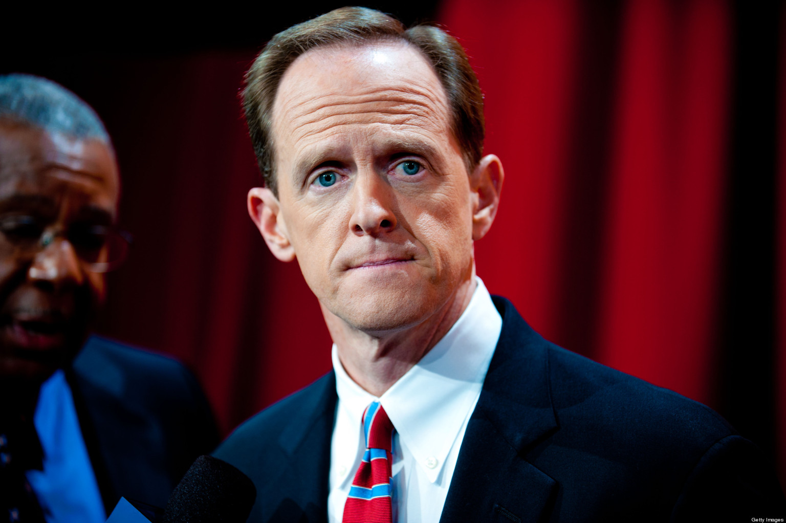PHILADELPHIA, PA - OCTOBER 20: U.S. Senate Republican candidate Pat Toomey meets with the media after his debate with U.S. Senate Democratic candidate Congressman Joe Sestak (D-PA ) at the National Constitution Center on October 20, 2010 in Philadelphia, Pennsylvania. Recent Polls have the two candidates neck and neck with two weeks to Election Day. (Photo by Jeff Fusco/Getty Images)